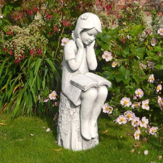 Stone Summer Reading Girl Statue - 86cm Garden Sculpture
