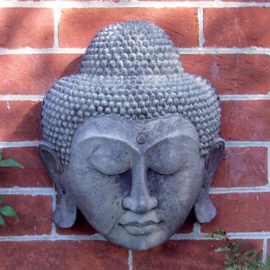 Stone Thai Buddha Head Wall Plaque - Garden Art