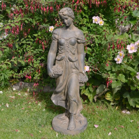 Summer Maiden 84cm Four Seasons Bronze Rust Stone Garden Statue