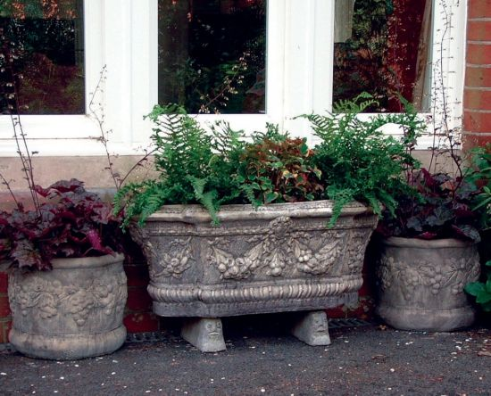 Swagg Stone Plant Trough & Vases - Large Garden Trough
