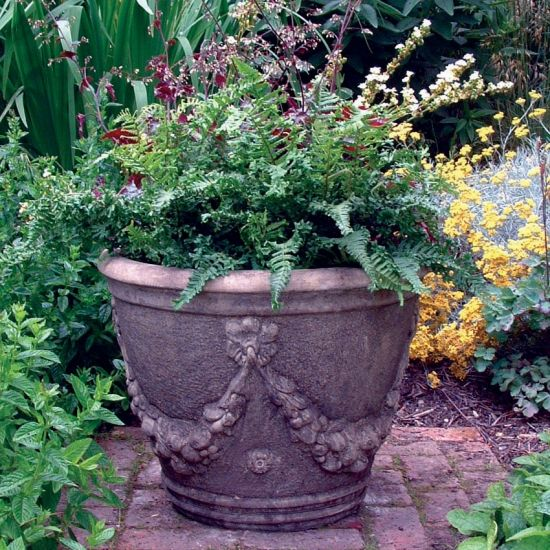 Swagg Stone Urn Plant Pot - Large Garden Planter