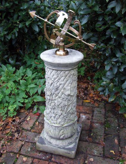 Vine Armillary Stone Sun Dial - Garden Sundial