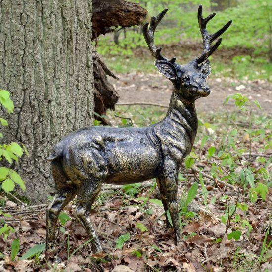 Wild Baby Stag Deer Bronze Metal Garden Statue
