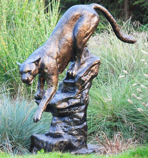 Wild Cougar Bronze Metal Garden Statue