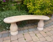 Classic Polished Rainbow Sandstone Stone Bench - Large Garden Benches