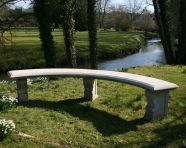 Double Length Plain Curved Stone Bench - Large Garden Benches