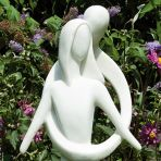 Embracing Lovers Modern Garden Statue - Large Contemporary Sculpture