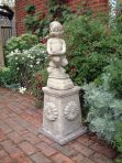 Emily Girl Stone Sculpture on Plinth - Large Garden Statue