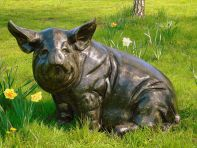 Big Pig Bronze Metal Garden Statue
