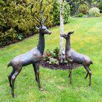 Grand Deer Bronze Statues - Metal Garden Ornaments
