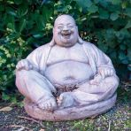 Laughing Chinese Stone Buddha Statue - Large Garden Sculpture