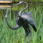 Love Cranes Antique Bronze Statue - Large Garden Ornament