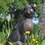 Moon Gazing Hare Bronze Metal Garden Ornament