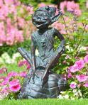 Pixie on Snail Bronze Statue Garden Ornament