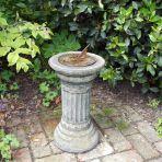 Small Aged Brass Stone Sun Dial - Garden Sundial