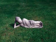 Stone Leaning Buddha Statue - Large Garden Sculpture