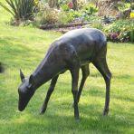 Wild Doe Deer Life-Size Bronze Metal Garden Statue
