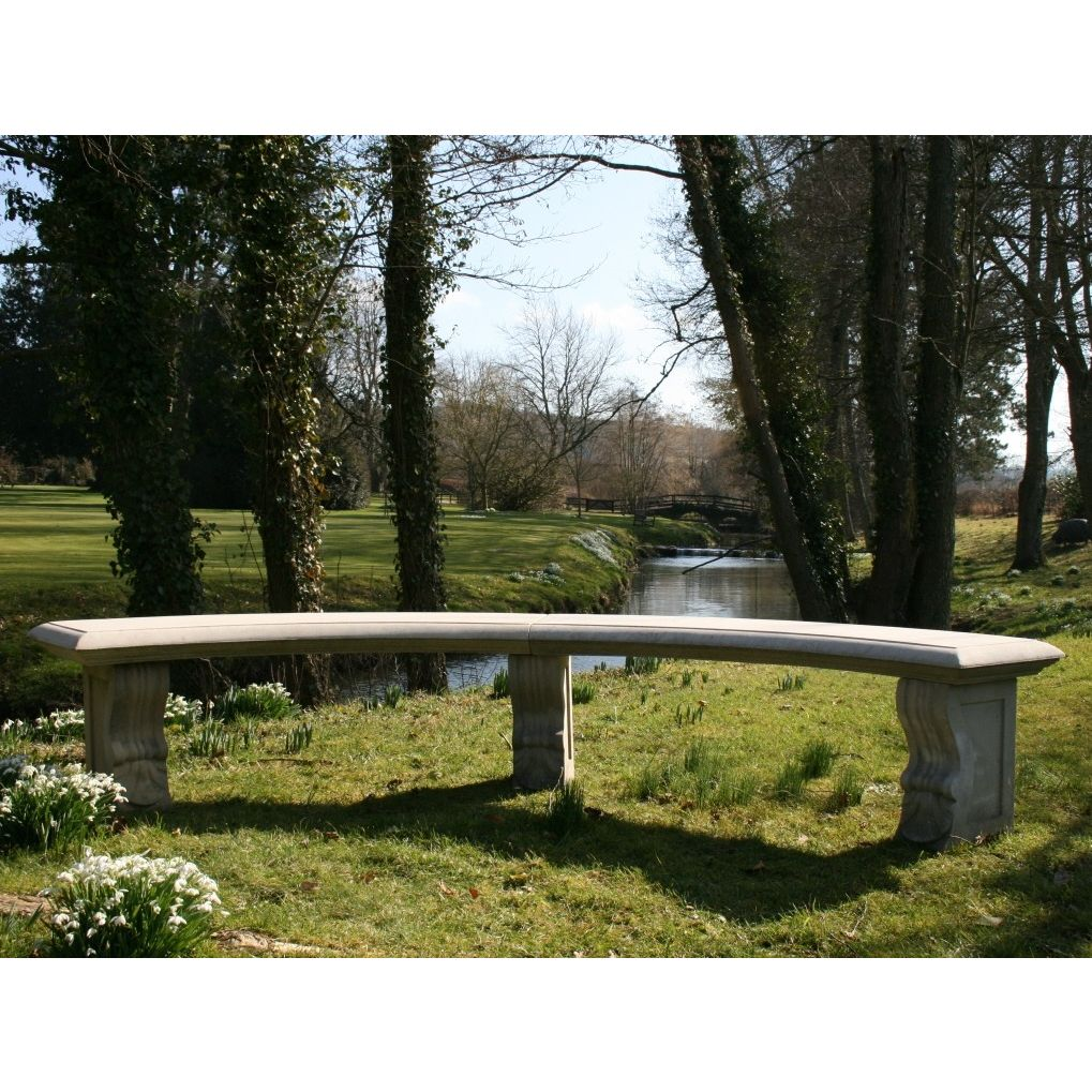 Double Length Plain Curved Stone Bench