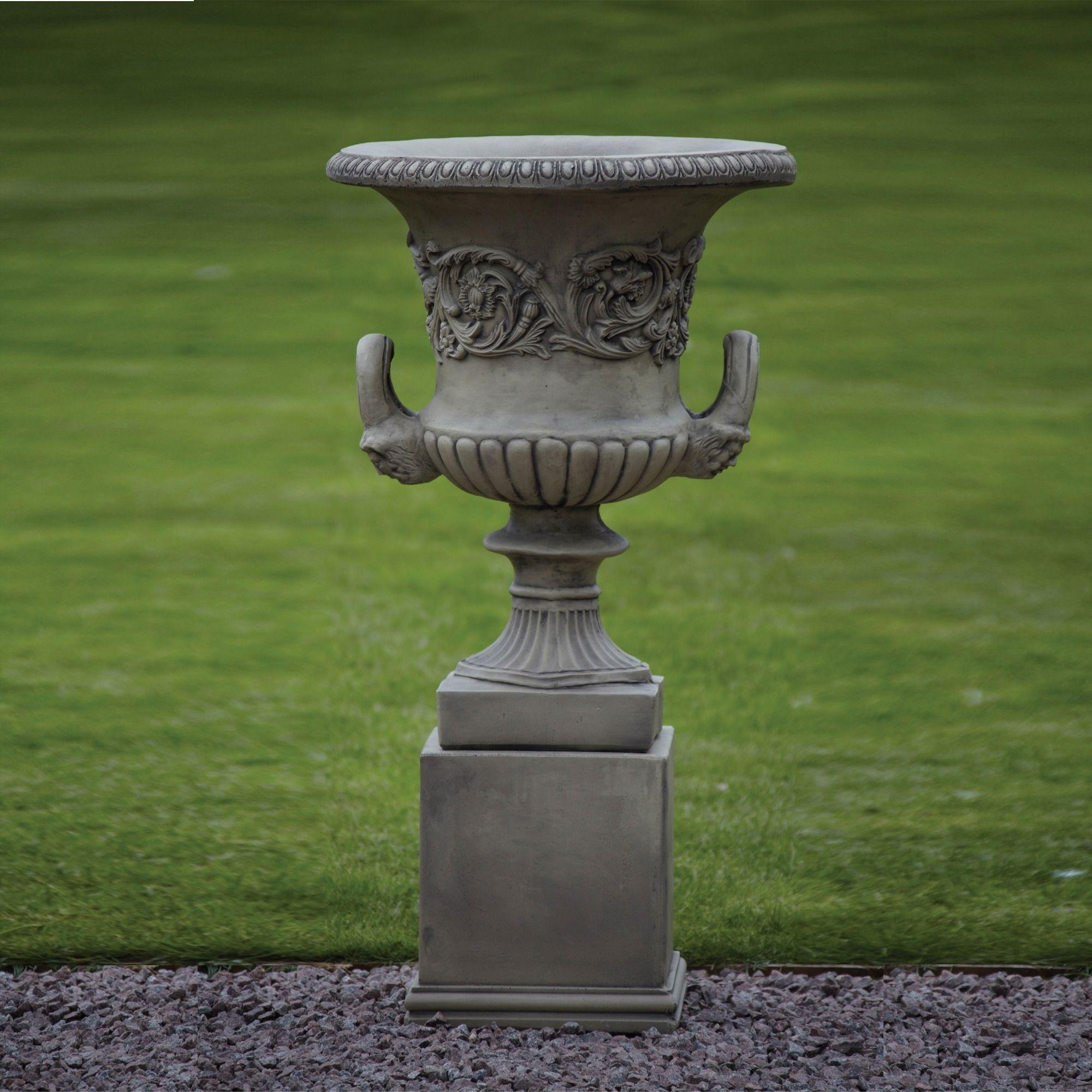 Large Garden Planter Grecian Stone Urn On Plinth